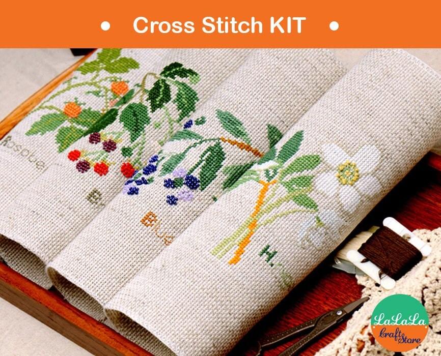Modern cross stitch kits berries and flower kit