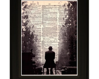"""Power''.Dictionary Art Print. Vintage Upcycled Antique Book Page. Fits 8""""x10"""" frame"""