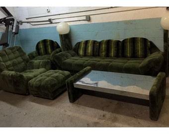 Vintage Pearsall Stil Shag Wohnzimmer Set Sofa Zwei Sessel Ottomane Lampen