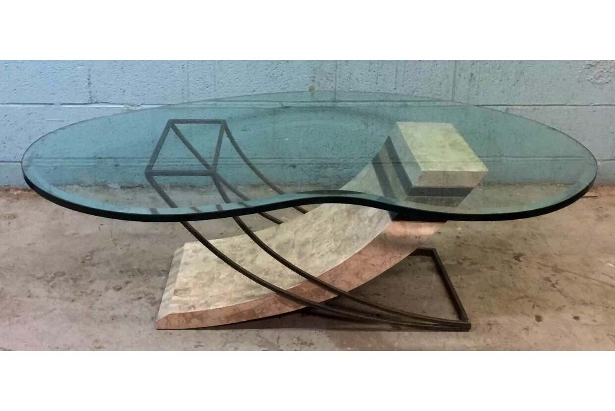 Tessellated Fossil Stone Coffee Table With A Biomorphic Glass