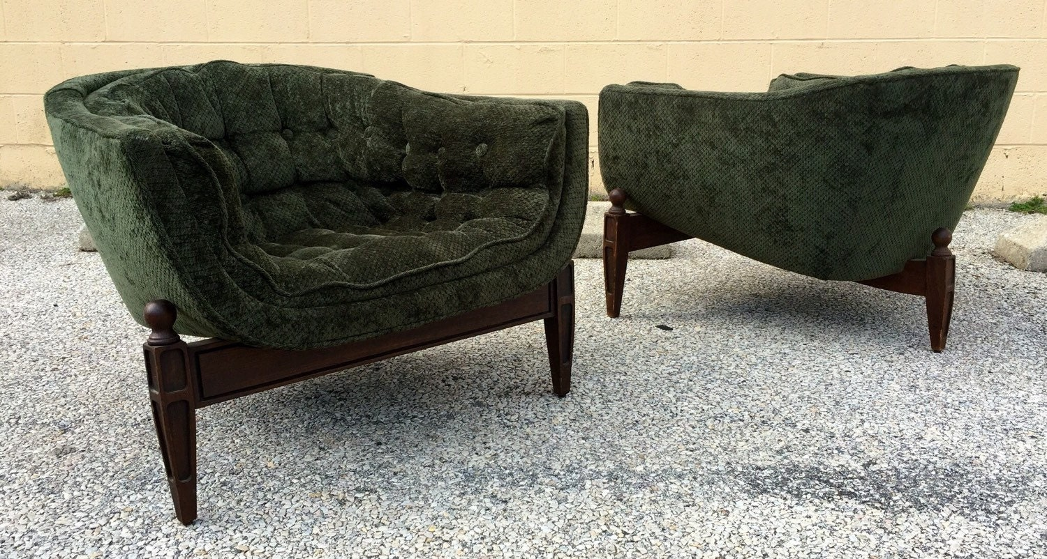 Mid Century Tufted Lounge Chairs