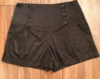 Black High Wasted Sailor Shorts