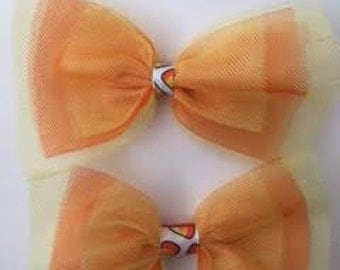 Candy Corn Tulle Bows