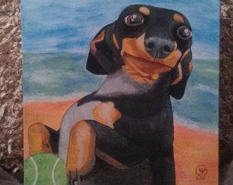 Custom colorful pet portrait acrylic painting 12x12