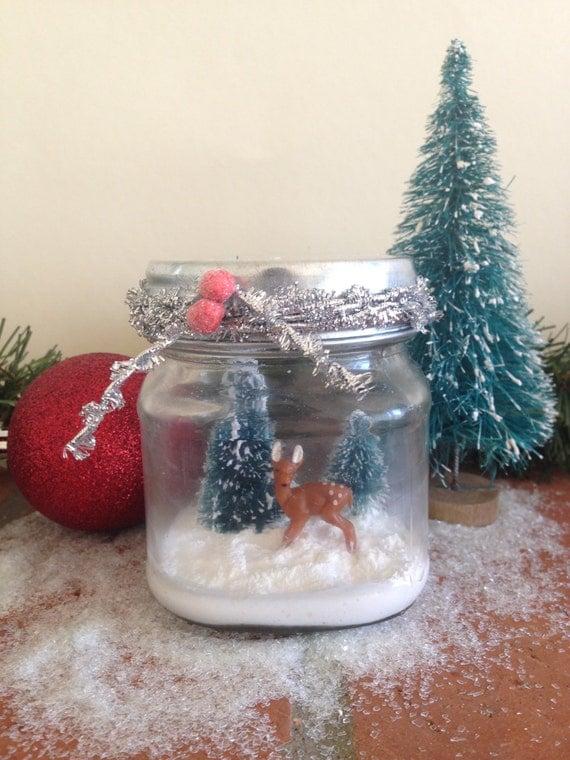 Handmade Christmas Decoration Christmas Reindeer Vintage Christmas Decoration Christmas Mason Jar Handmade Christmas gift Snow globe