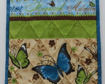 Butterfly Quilted Trivet, Quilted Pot Holder, Blue Green Brown Butterfly Mug Rug, Quilted Hot Pad, Housewarming Gift