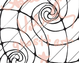 Black and White Spiral Print Poster