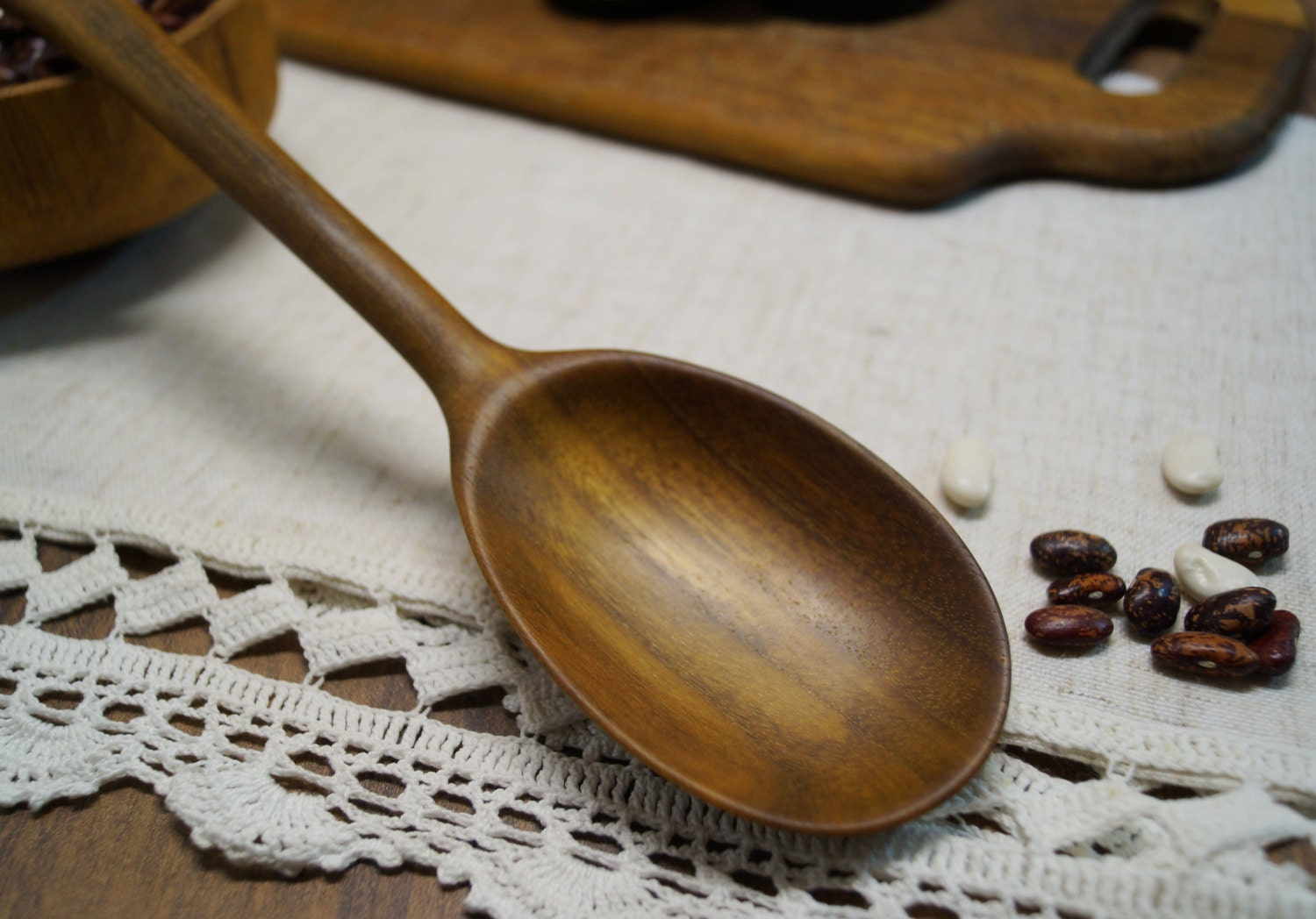 Carved wooden cooking spoon-spatula in walnutwooden