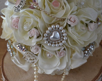 Wedding bridal Bouquet Ivory, Blush Pink  fabric flowers,and  gem,Pearl  detail