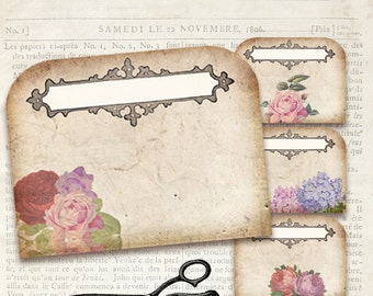 Mini Foldable Printable Tags - Shabby Chic, Floral