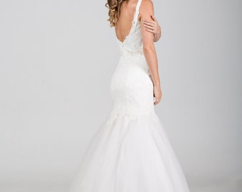 Romantic Mermaid Vintage Inspired Wedding Dress with Illusion Neckline, Tulle Skirt, Lace Edge, V Cutout, Open Back, Chantelle Lace Corset