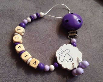 Pacifier clip-pacifier with name Livia wooden beads