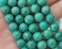 A Quality Russian Amazonite Round Beads 8mm Full Strand Jewelry Supply Jade Green