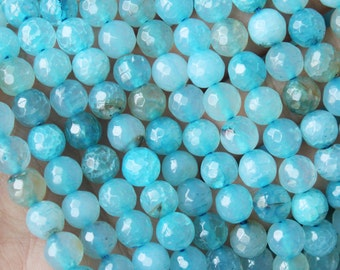 8mm Faceted Rainbow Agate Beads Rainbow Beads Ocean Blue Round Beads Rainbow Agate Beads