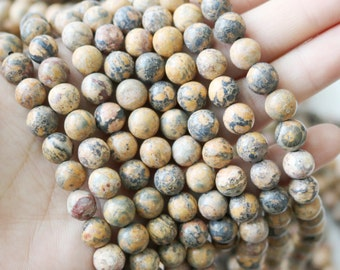 Leopardskin Jasper 8mm Jaguar Stone Light round gemstone beads full strand A quality jewelry ...