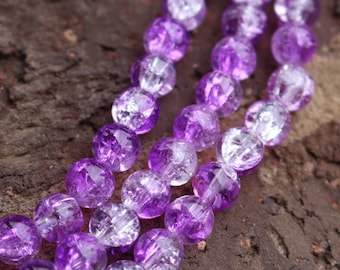 6mm 32 inch strand Glass Beads Crackle Round Ball Beads Bright Purple and White Two Tone Beads Wholesale AA010B