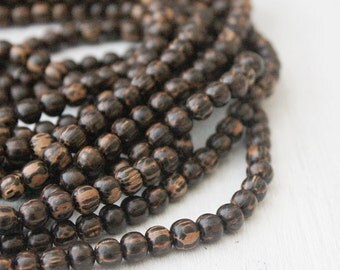 6mm Palmwood Beads One Strand Jewelry Supply Round Black Beads