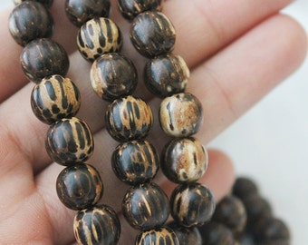 9mm Palmwood One Strand Beads Jewelry Supply Round Wood Beads