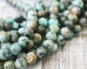 african turquoise 8mm round full strand a quality green beads