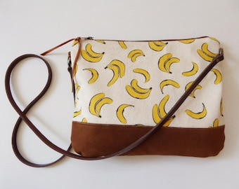 Crossbody bag Bananas print canvas,Gift for her,women gift,clutch purse,small crossbody,leather strap,sling bag