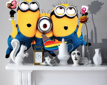 3 Minions Removable Stickers Wall Decal Kids Room