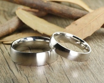 Custome Gifts His and Her Promise Rings -  Matt Silver Wedding Titanium Rings Set