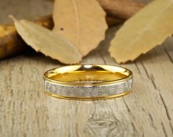 Handmade Gold Wedding Band, Golden Wedding Ring, Bridal Ring, Promise Ring, Women Ring, Couple Ring, Titanium Ring, Anniversary Ring
