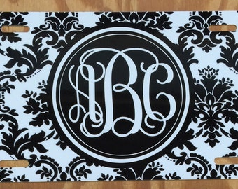 Black Damask Monogram License Plate personalized license plate black white damask license plate monogram Car Tag New