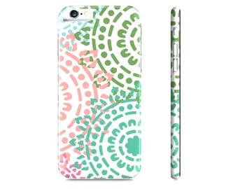 Mandala iPhone Case - Abstract iPhone Case - Geometric iPhone 6 Case - Peach Pink Blue Green Modern iPhone Case - The Mad Case