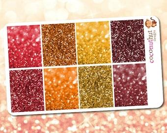 Autumn / Thanksgiving / Fall / Harvest Glitter & Bokeh Full Box Planner Stickers