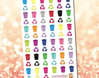 Trash Cans / Recycle / Cleaning Planner Stickers