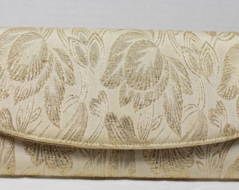 Charles Originals Gold Long Evening Clutch, Vinage Purse Satin Lined, Gold Embroidery