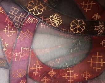Handmade Latvian ornaments/ signs on a silk scarf