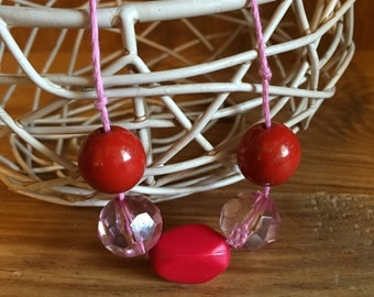 Red and pink beaded necklace- Berry Bonanza