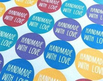 Handmade With Love stickers - bright circular stickers for your crafts and parcels. Packaging, craft stickers, business branding
