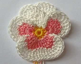 Irish Crochet Flower Applique Embelishment Decoration Realistic Petals Original Design Handmade Handcrafted Fiber Arts