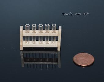 1:12 Dollhouse Miniature Science Geek Test Tube on a Rack/ Dollhouse miniatures  #D52