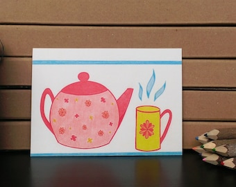 Card Teapot - A6 Postcard - Blank Card - Just Because Card - Card Recycled Paper.