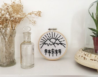 take me to the mountains embroidered hoop art