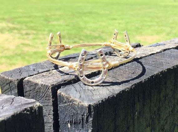 Horseshoe Bangle Bracelet, Horse Shoe Bangle, Wire wrapped bangle bracelet, Handmade Bangle