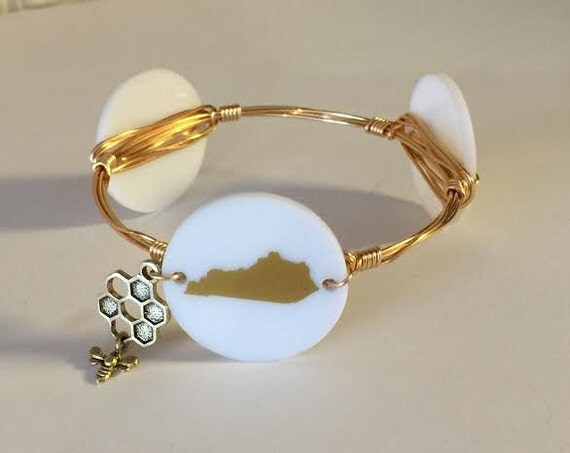 Kentucky bangle bracelet, Kentucky gold and white bangle, Wire wrapped bangle, Ky bangle
