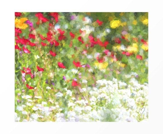 "Fine Art Botanical Print, Flower Home Decor, Botanical Flower Print, Floral Wall Decor ""Red and White Wildflowers"""