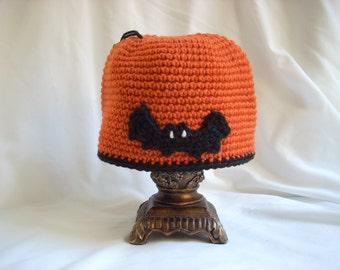 Child Bat Hat / Child Halloween Crochet Hat orange and black