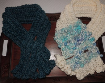 Hand Knit Scarf with Stick Pin