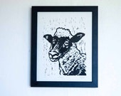 Hand Carved Woodcut, Finn, Hand Block Printed Art Print, Handmade Advent decor and Christmas gift, Rustic style (Black and white sheep)