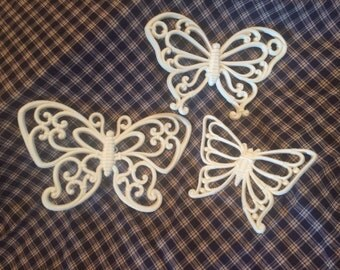 Set of 3 Vintage 1970s Homco Beautiful Butterflies-White/Ivory Wall Art, Retro Decor, Shabby Chic, Cottage Decor , Whimsical vintage