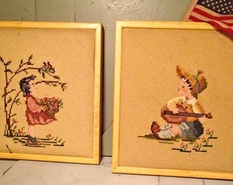 Handmade Needle Point Picture of a Girl and Boy