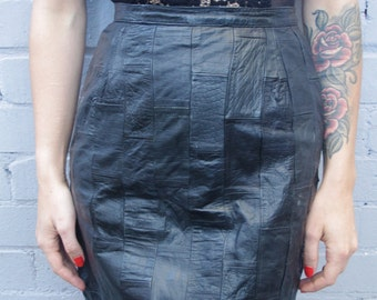Vintage 1980's black leather patchwork textured skirt size 8