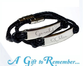 Leather bracelet with stainless steel : Personalized and engraved by Sydneytags