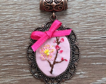 Plum blossom with pink ribbon embroidery necklace/pendant/jewellery/gift/stitch/bridal gift